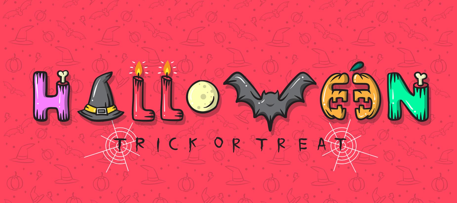 the word Halloween wrote with bones, pumpkins, black hats