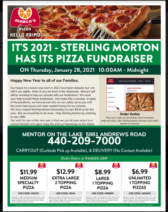 It's Marco's Pizza Night - Thursday 1/28 Featured Photo