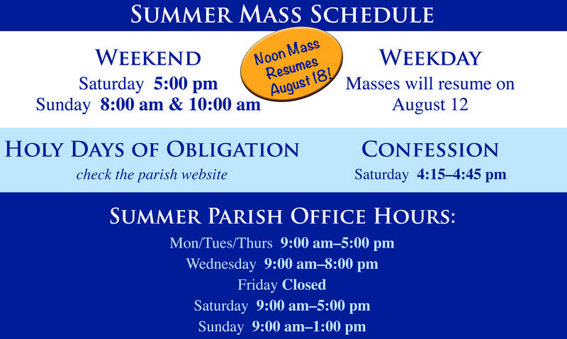 Summer Mass Schedule Featured Photo