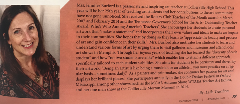 CHS Art Teacher, Jennifer Burford, Profiled in 4Memphis Magazine Featured Photo