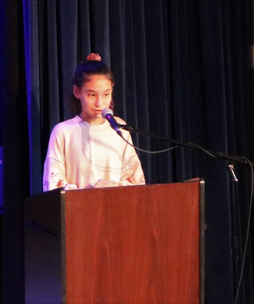 Photo of Roosevelt student winner of MLK Day poem contest.