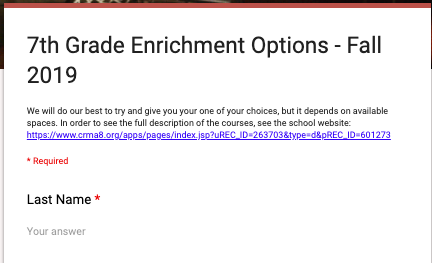 7th Grade Enrichment Course Selection Thumbnail Image