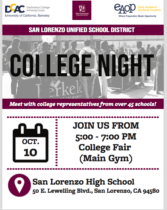 SLZUSD'S COLLEGE NIGHT, THURSDAY, OCT 10, 5-7 PM, WEST GYM. Featured Photo