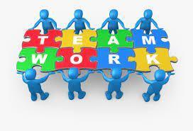 clipart of bots holding sign that says teamwork
