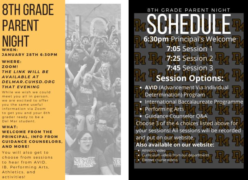 8th grade parent night information flyer and schedule of events