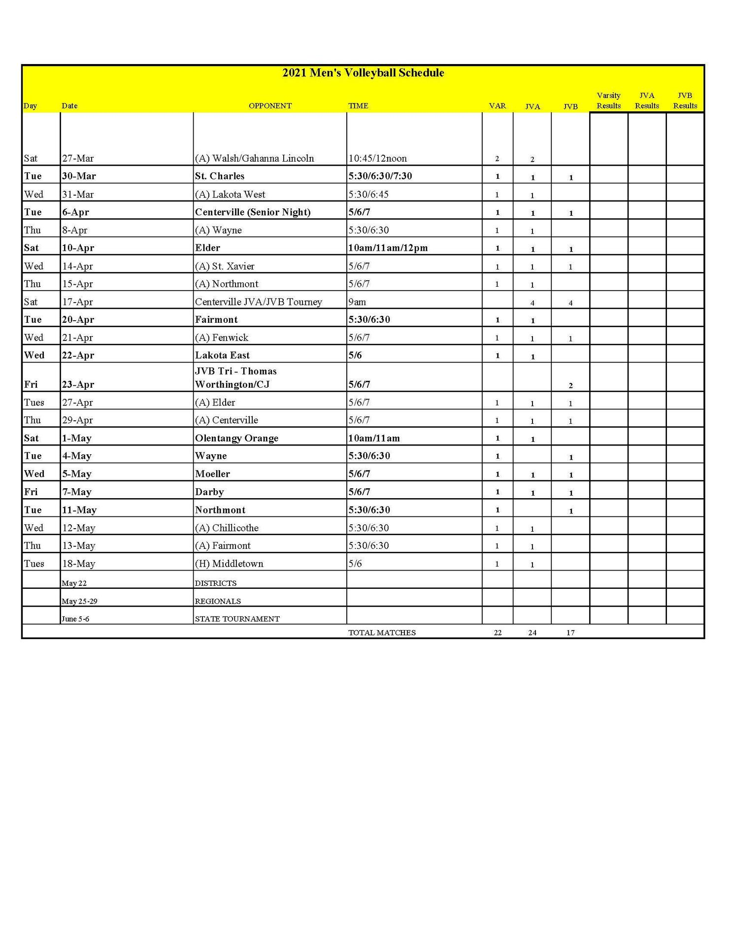VB Schedule 3-18-21