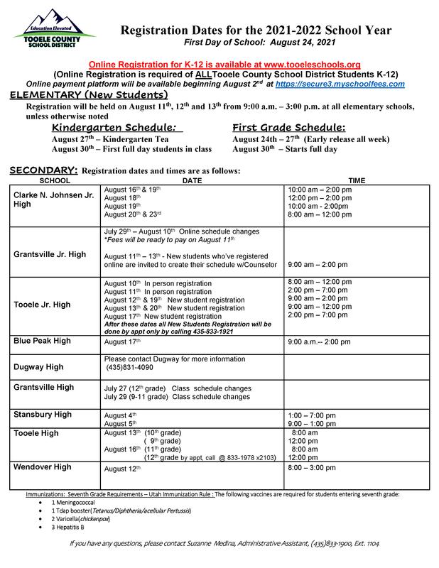 In-person registration schedules