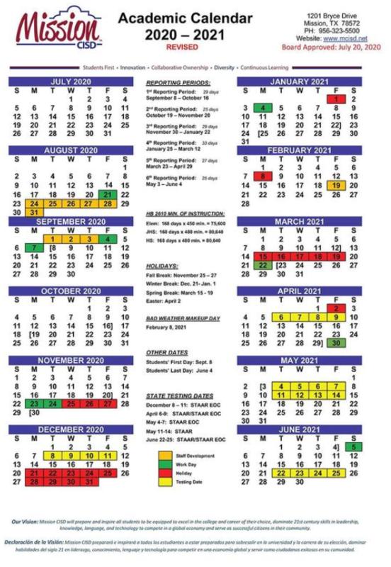 2020-2021 Revised Calendar Featured Photo