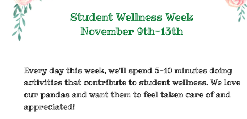 student wellness week november 9 to 13