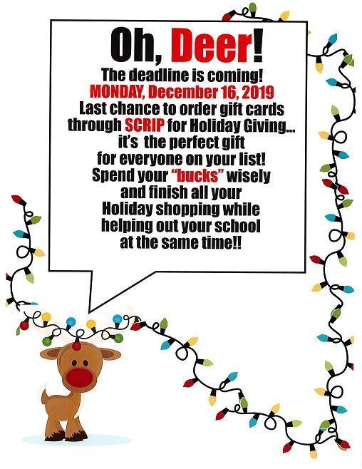 Scrip Deadline is December 16th! Featured Photo