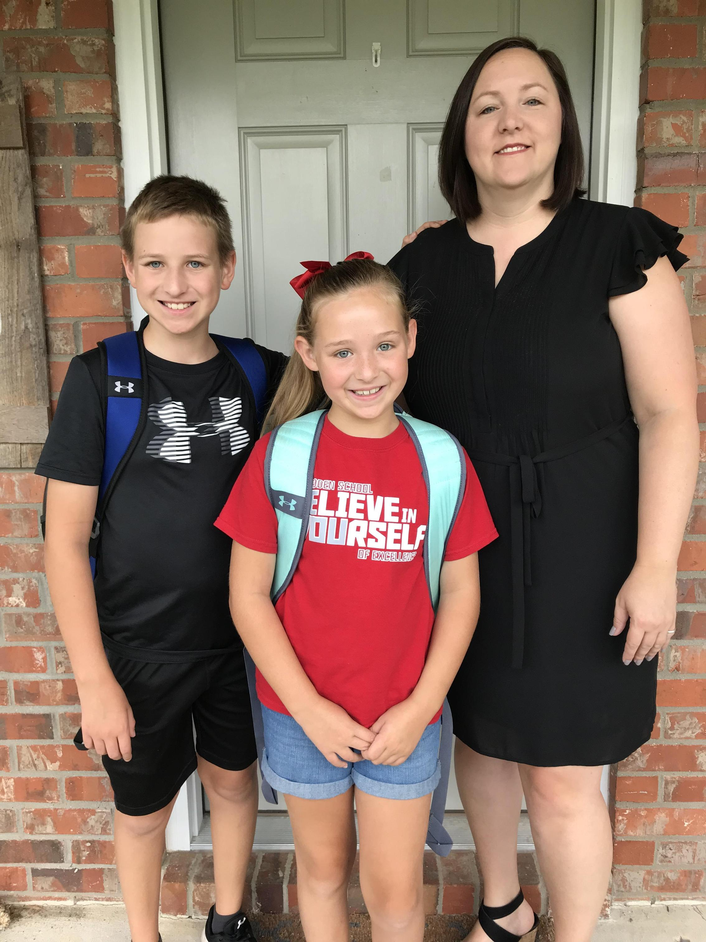 First Day of School 2018-2019 - Krista, Jackson, and Catherine