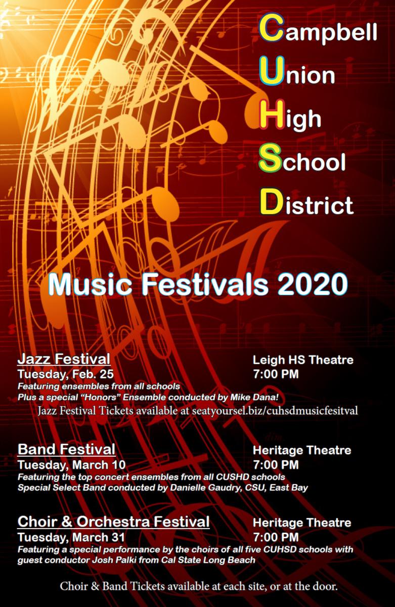 image of flyer for CUHSD music festivals 2020