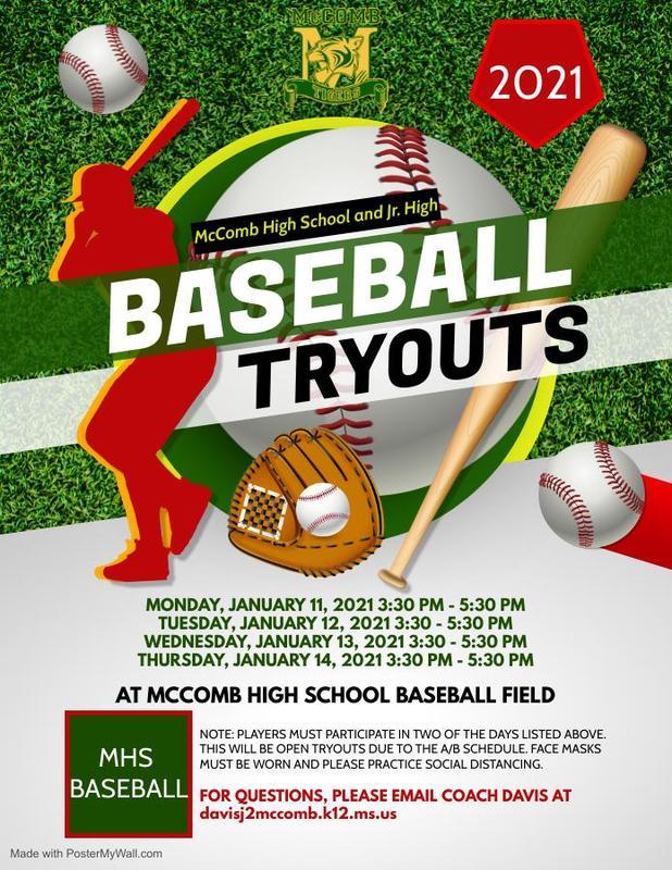 McComb High School and Junior High Baseball Tryout News 2021