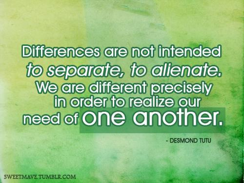 Differences are not intended to separate