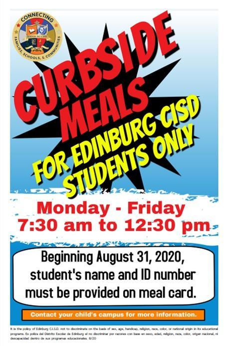 Image of Curside Meals English flyer