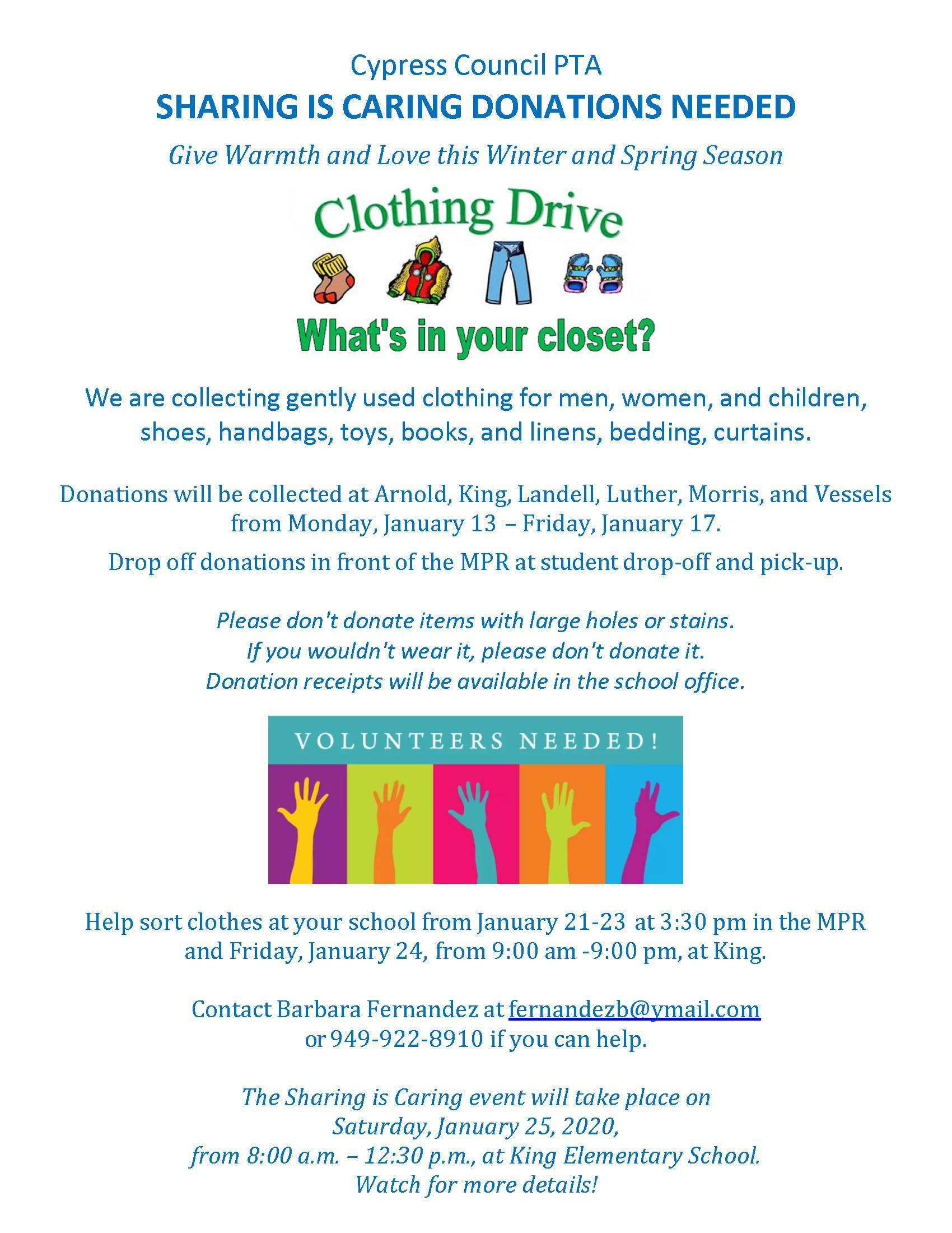 Sharing is Caring Donations Flyer