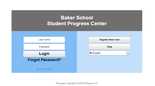 photo of the Student Progress Center homepage