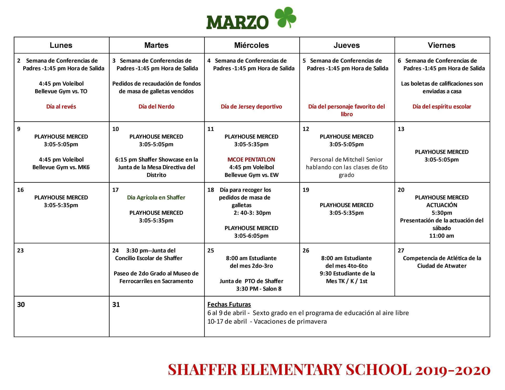 March Calendar-Spanish