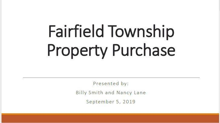 Image of the first slide of a presentation about the purchase of 32 acres of land from FF Township