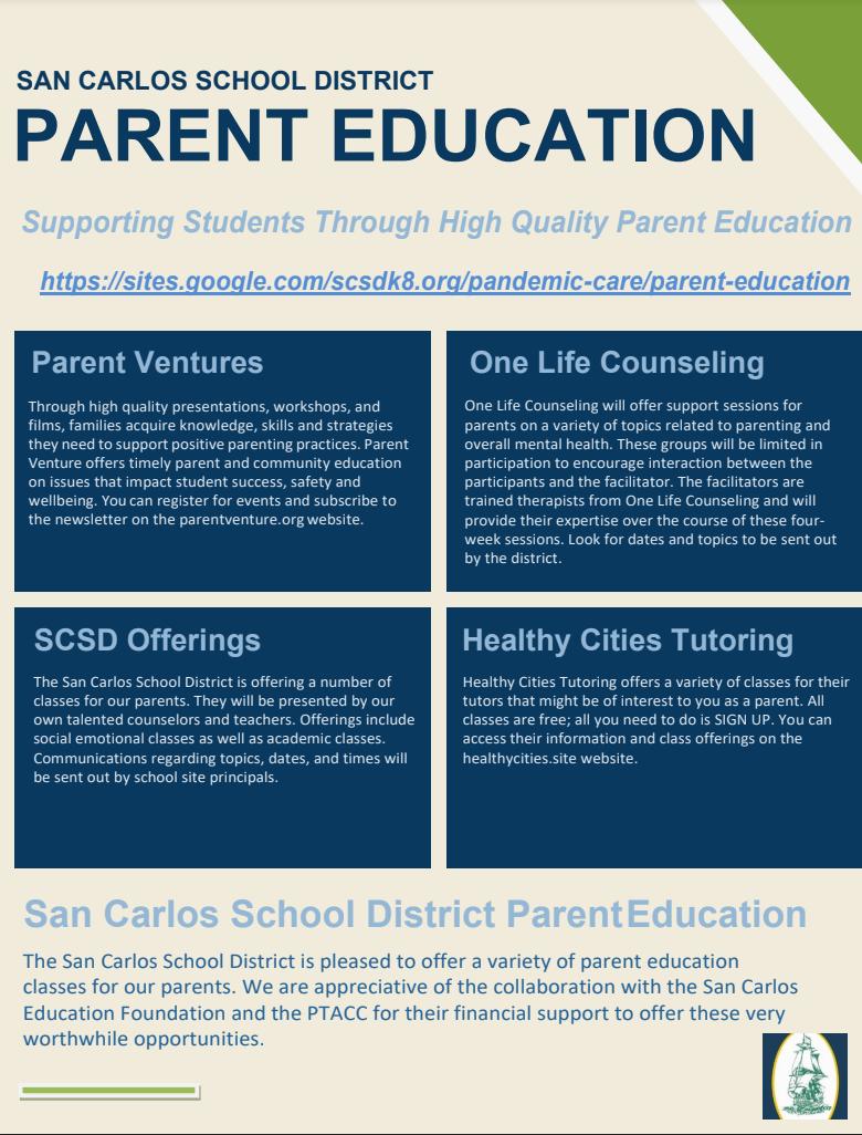 SCSD Parent Education Flyer
