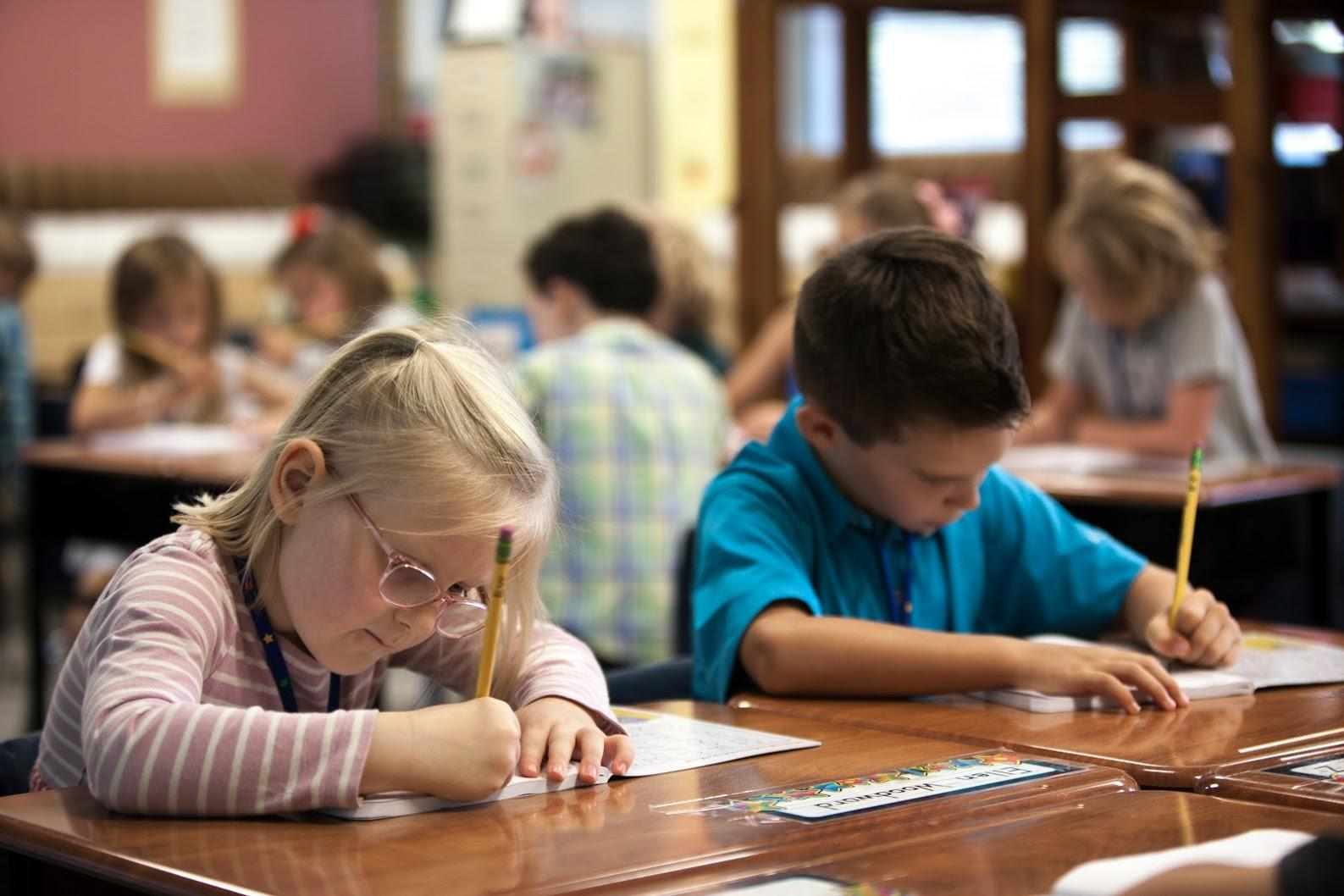 Students testing in their classroom