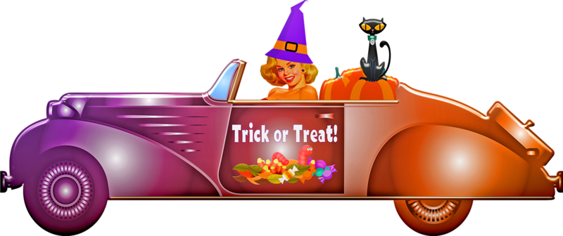 Witch driving car