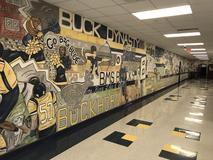 Buckhorn Middle School Mural located in the hallway between the band room and the gym