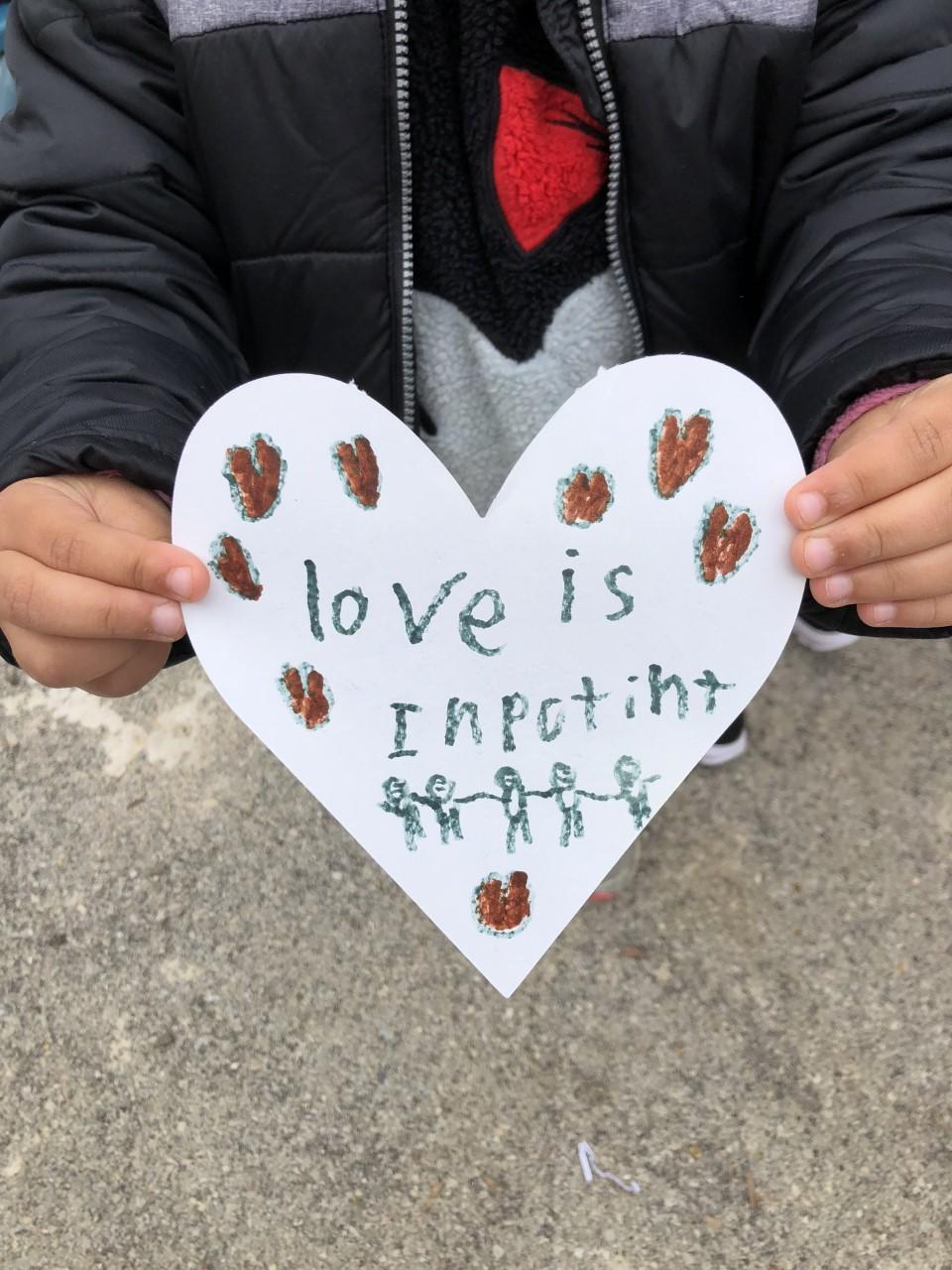 'Love is important' A beautiful sentiment from one of our kindergarten students!