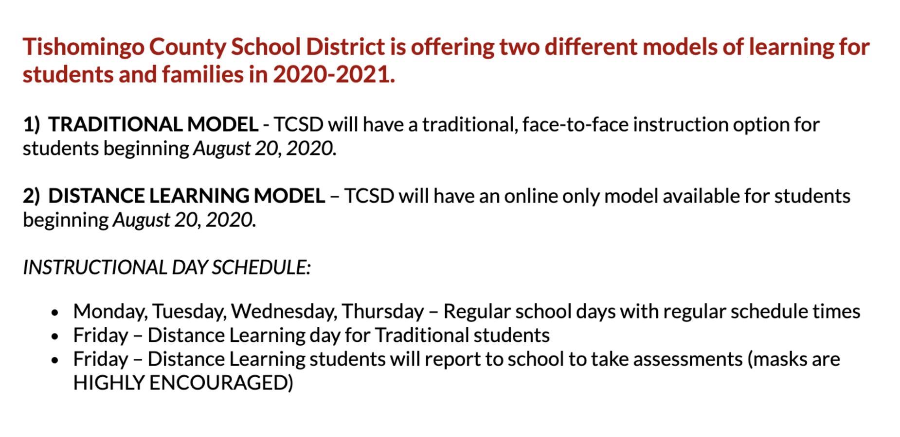 TCSD Return to School Plan