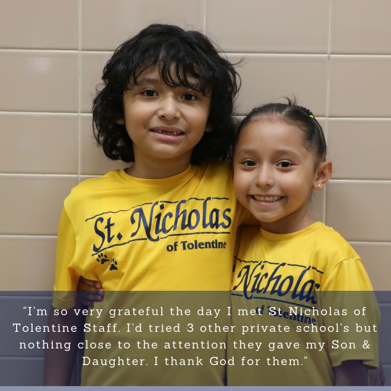 Parent Testimonial-I'm so very grateful I met the St. Nicholas of Tolentine Staff