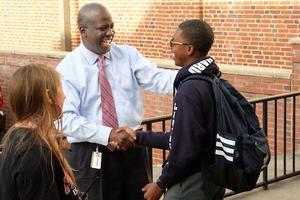Superintendent Earnest Winston first day of school