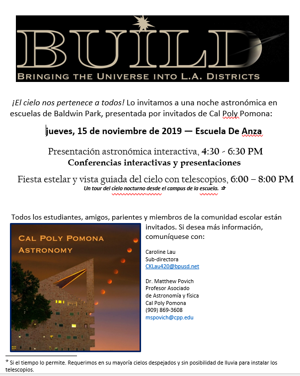 Star Party Flyer in Spanish