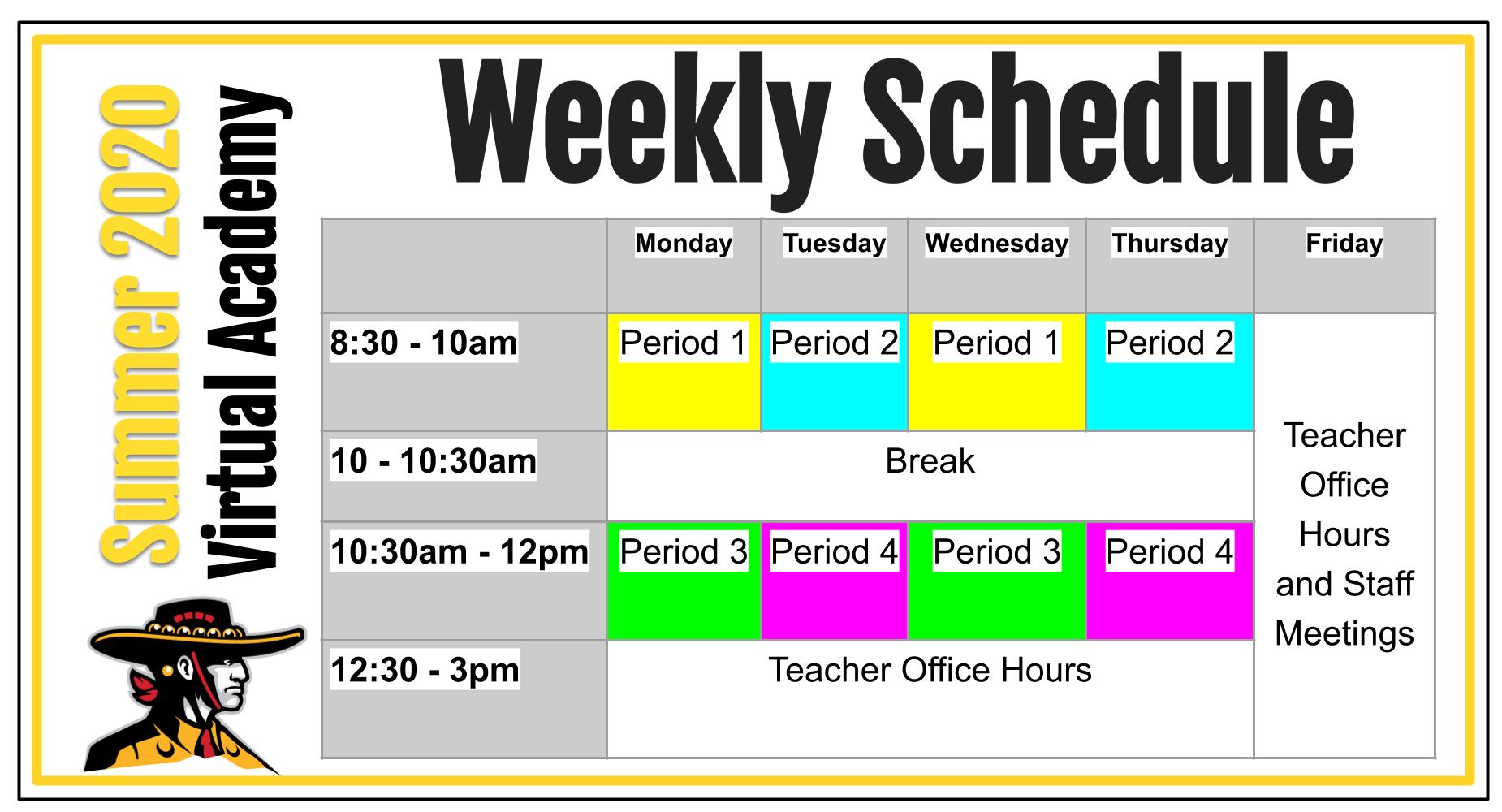 Weekly Summer School Schedule