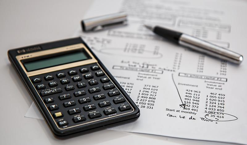 Calculator and example budget paperwork