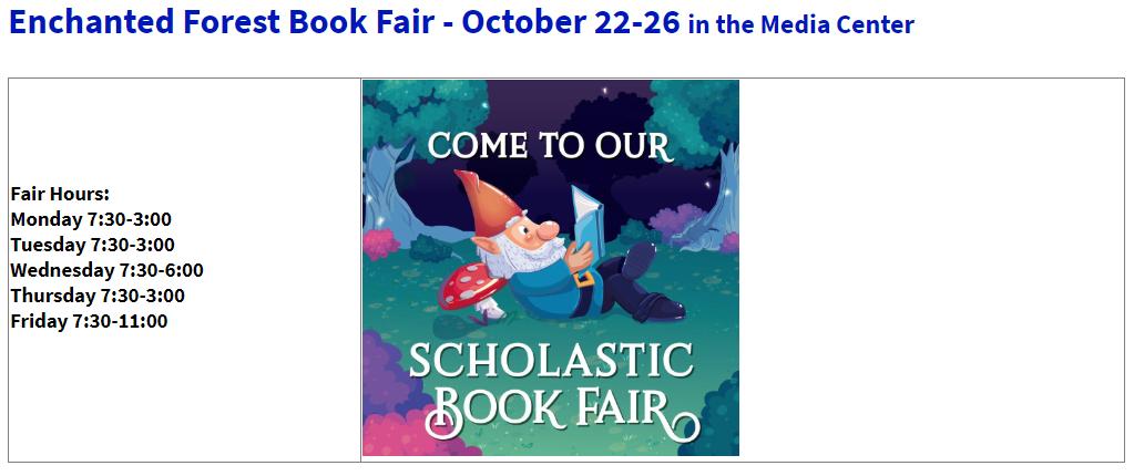 Book Fair Oct 22-26