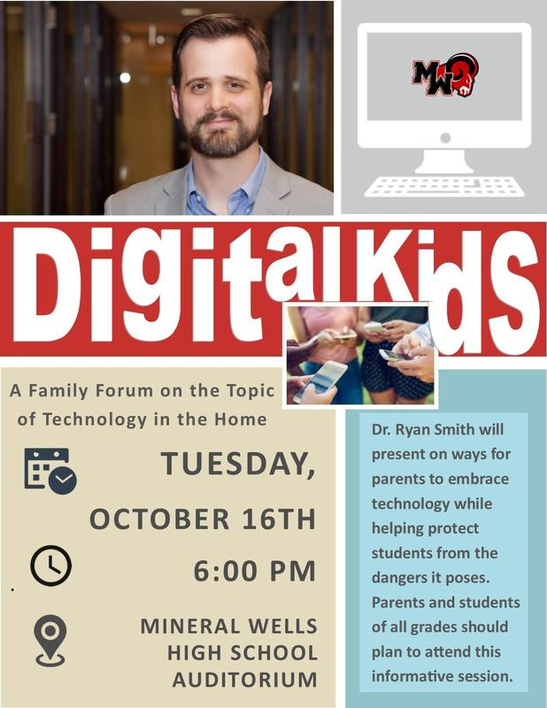 MWHS will provide a family forum on the topic of Technology in the Home on Tuesday, October 16 at 6:00 p.m. in the auditorium.