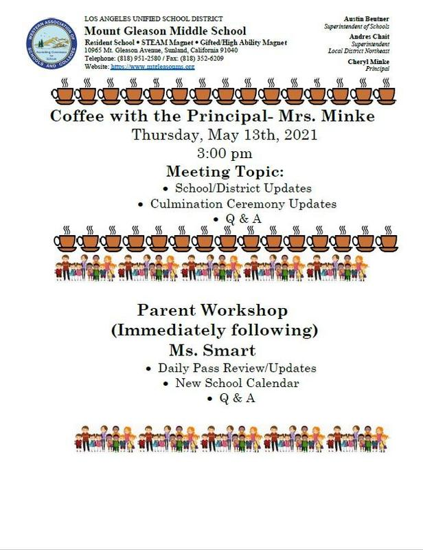 Coffee With The Principal 5/13 at 3:00 PM