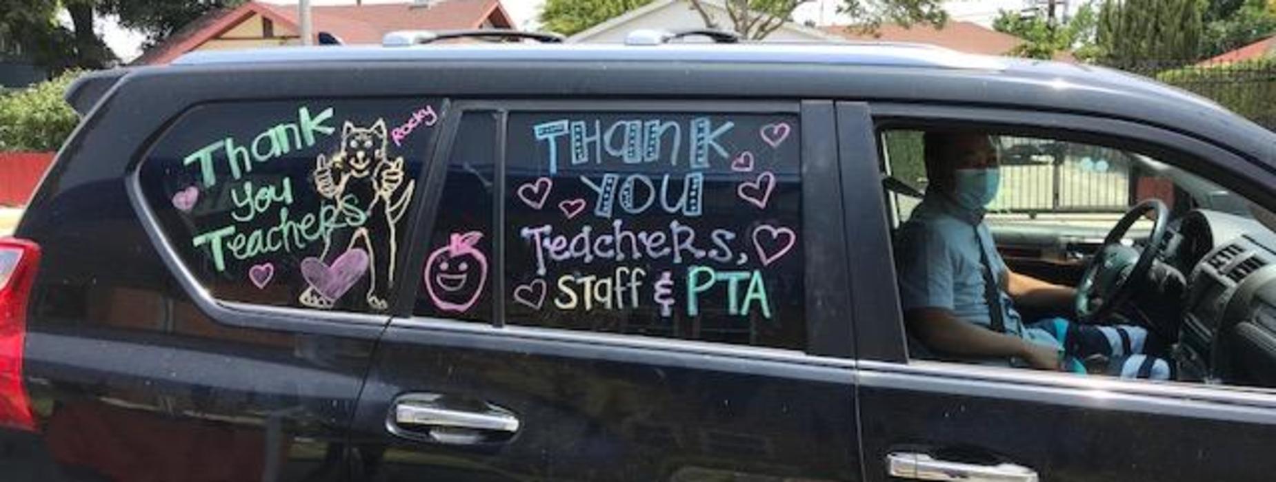 Marguerita family thanks teachers during Drive-Thru event