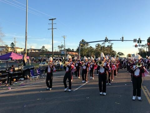 Baker High School Symphony of Soul Band in the 2019 Krewe of Titans parade in Slidell
