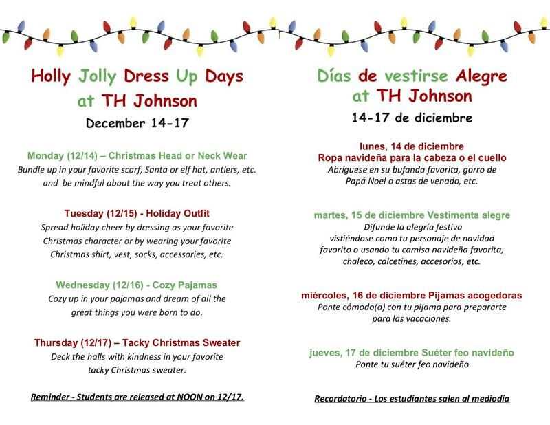 holly jolly dress up days schedule