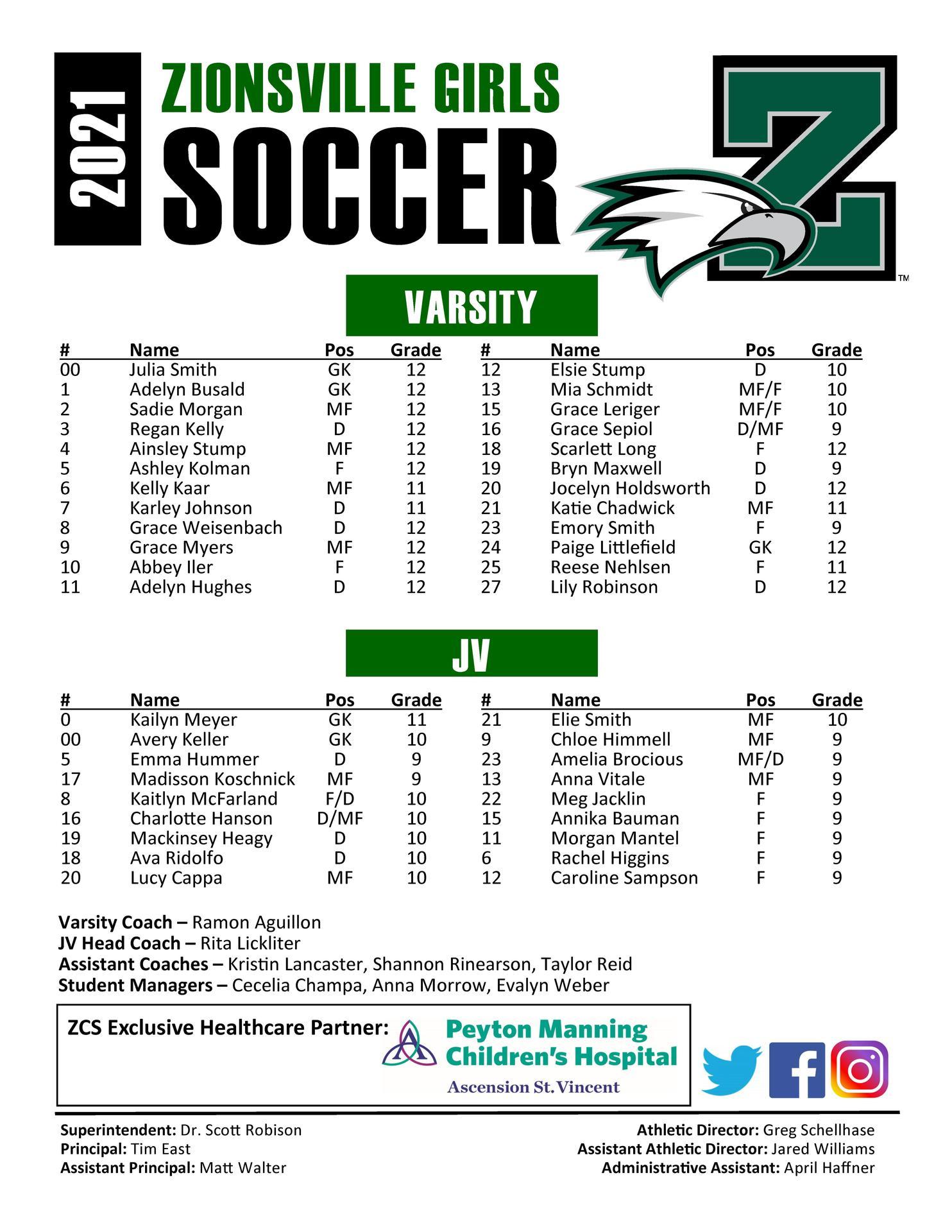 ZCHS Girls Soccer roster