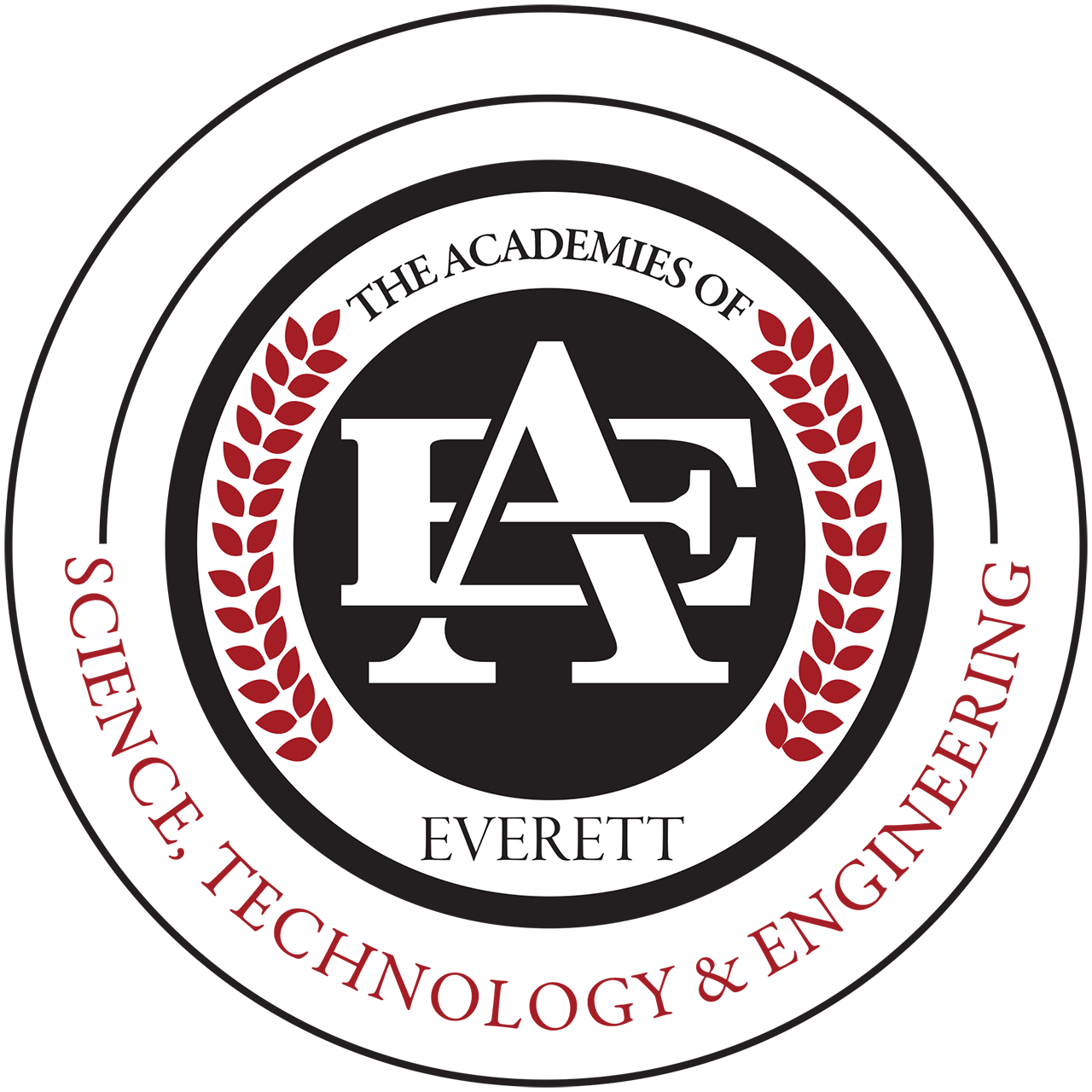 The Science, Technology and Engineering logo featuring red lettering, circles and leafs