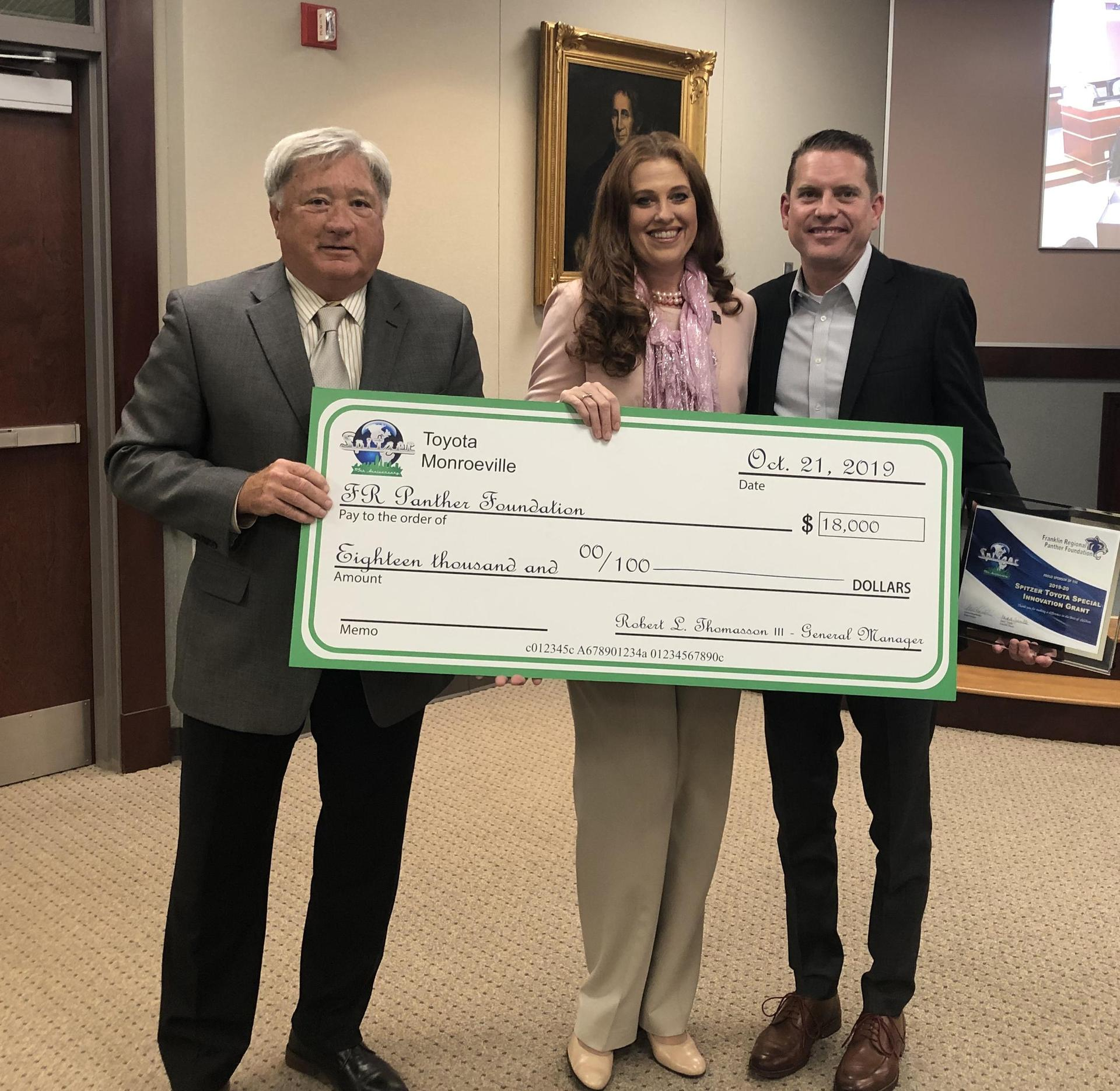 Spitzer Toyota presents sponsor check to FR Panther Foundation