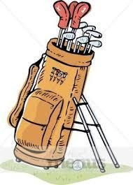 A picture of a golf bag with clubs