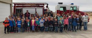 Elementary Students and Fire Truck