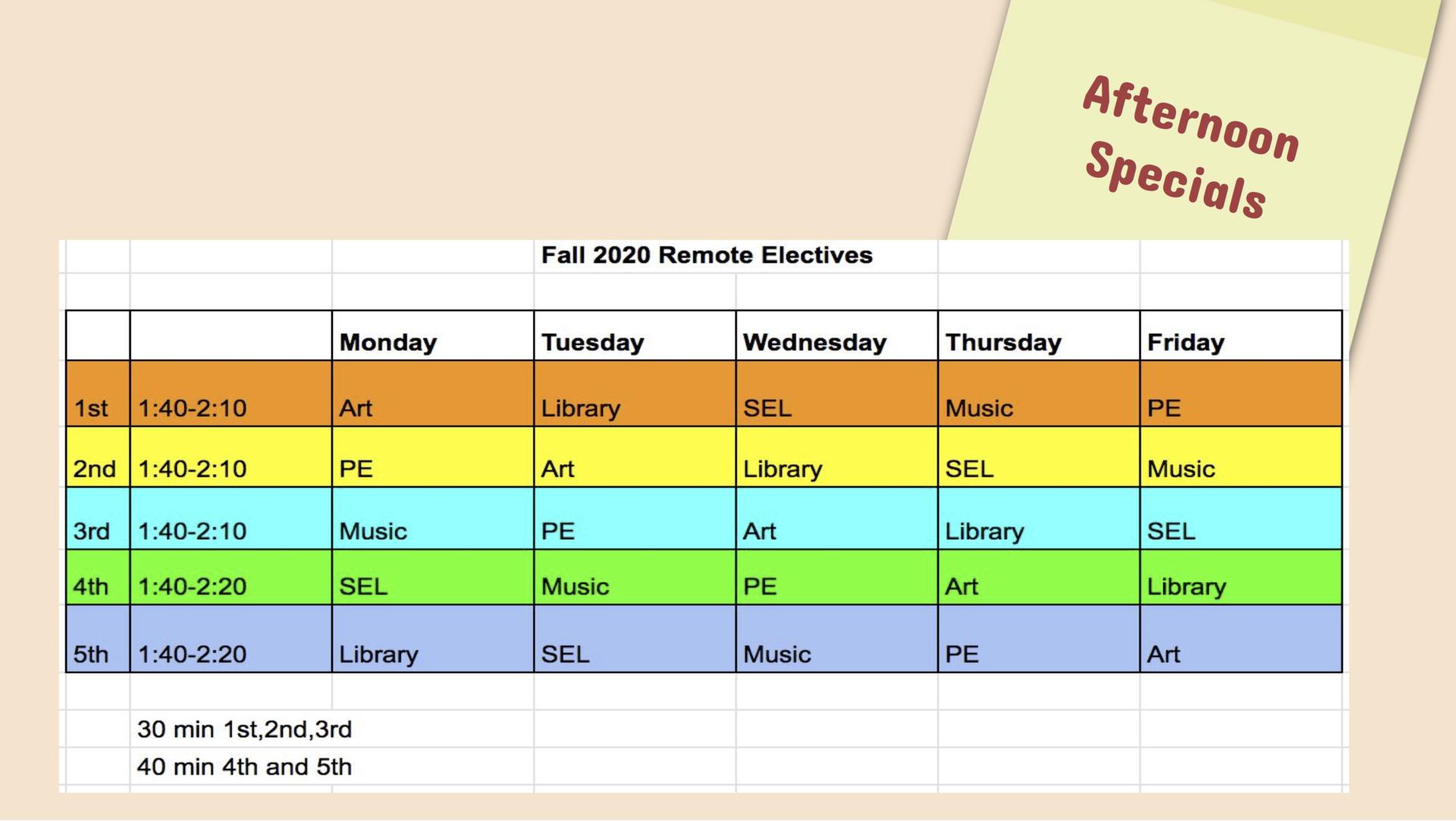 Elementary Specials Schedule