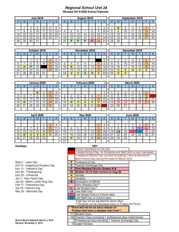 2019-2020 School Year Calendar - Revised November 5, 2019 Featured Photo