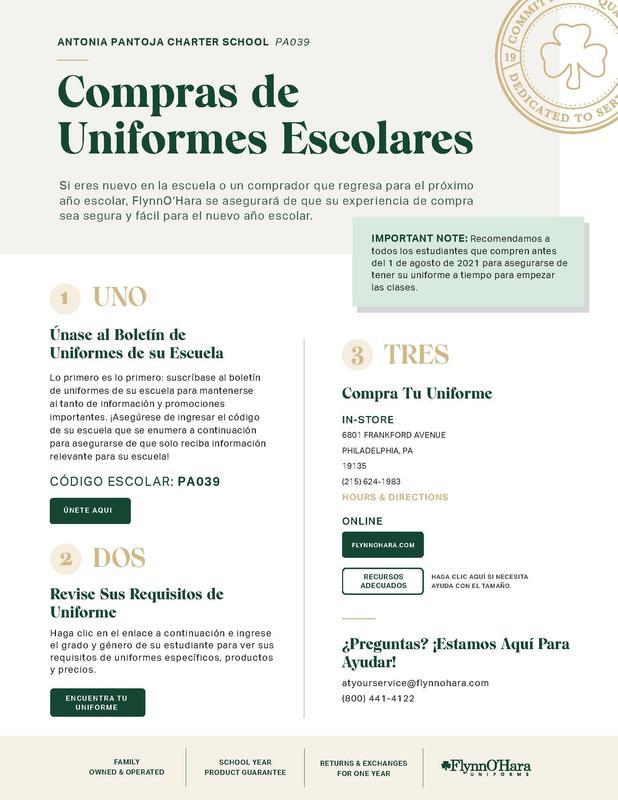 Antonia Pantoja Charter Uniform Ordering Reminder Featured Photo