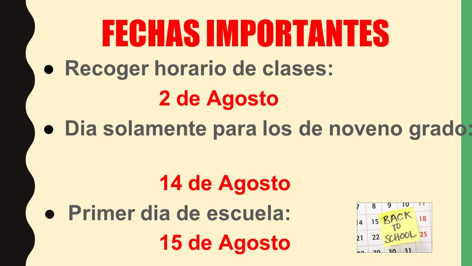 Important dates power point slide (Spanish)