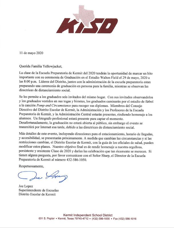 KHS 2020 Graduation Letter Spanish.png